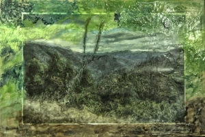 Altered Photo of Landscape with Encaustic