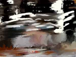 This piece is an altered photo that derives from a personal photo but was altered into an abstract piece showing nervous energy running through the room.