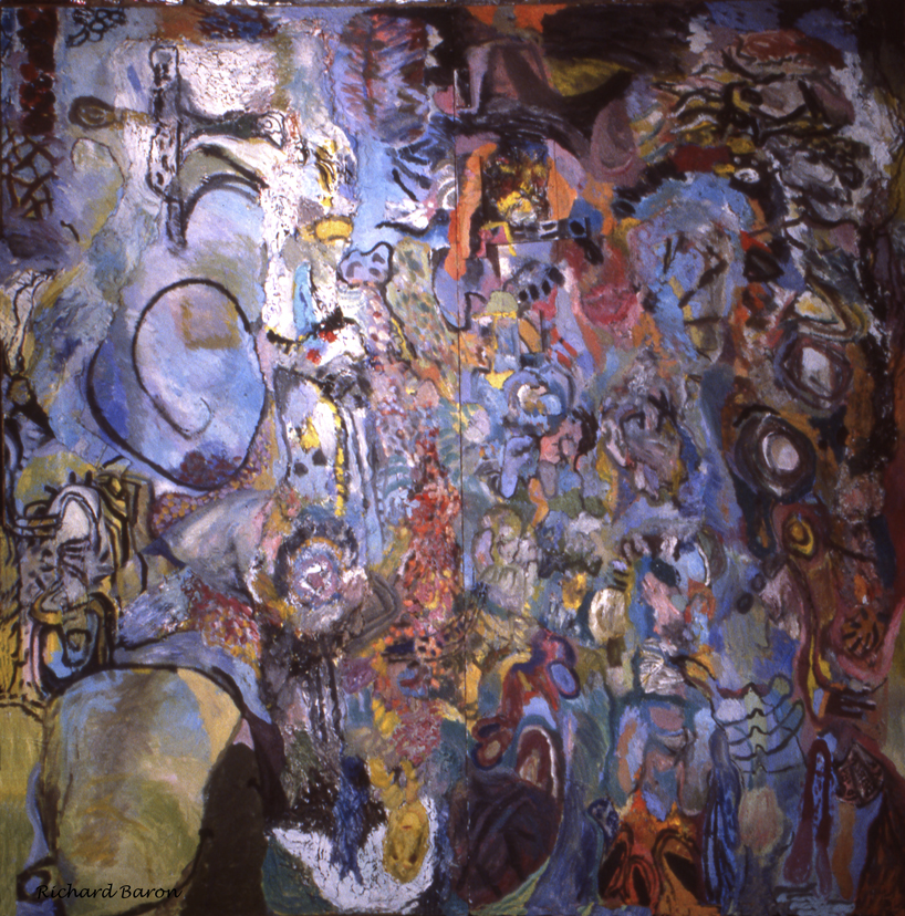 This piece I entered into the Maine Biennial and was accepted. At that time I was really interested in the Neo-Expressionists and Bernard Langlais of Maine.