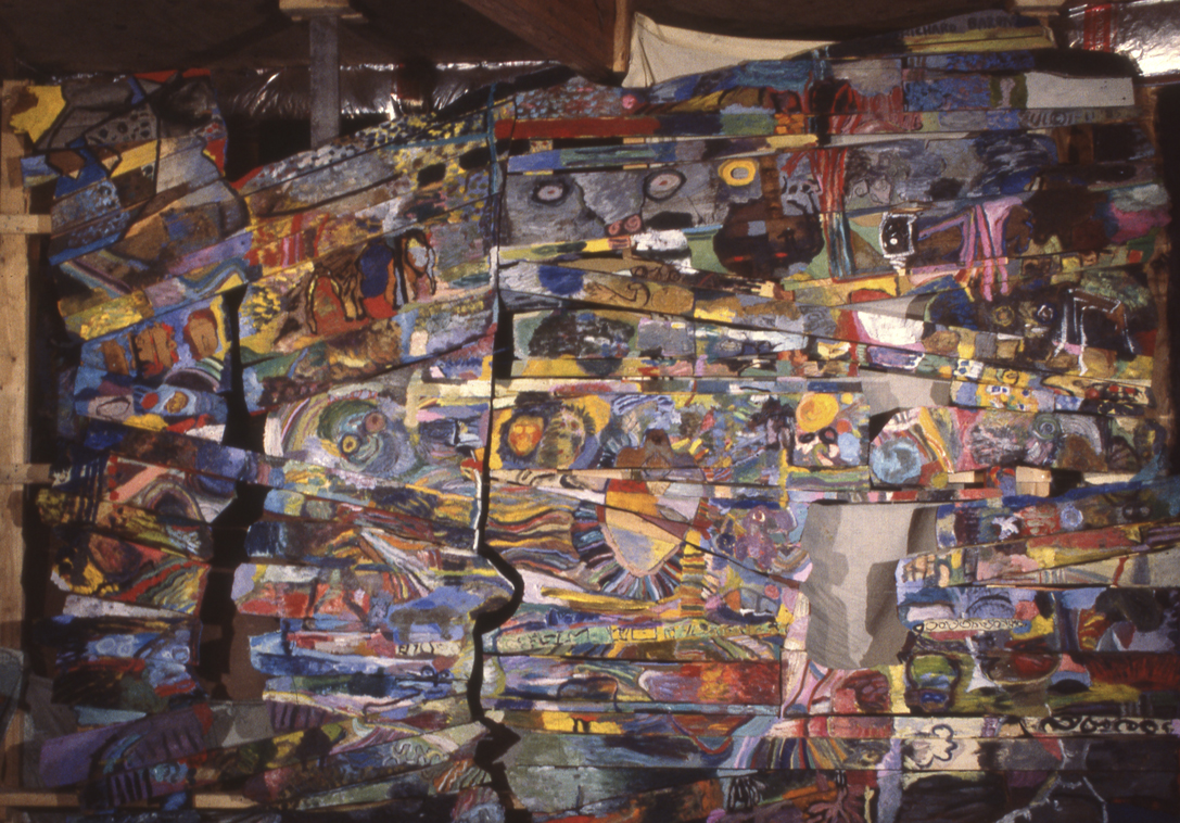 I really liked the works of Basquiat. This work was done on old Maine barn boards with oils and encaustics.
